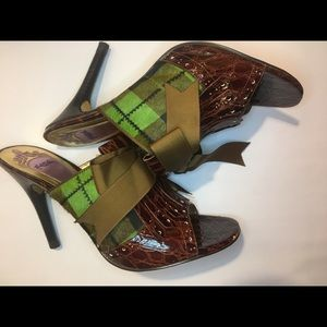 Hale Bob Shoes - Hale Bob Brown Leather Plaid Heels- Used